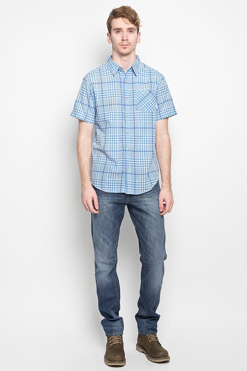 цена Рубашка мужская Columbia Cape Side SS Shirt, цвет: голубой, белый. 1581291_995. Размер XL (54) онлайн в 2017 году