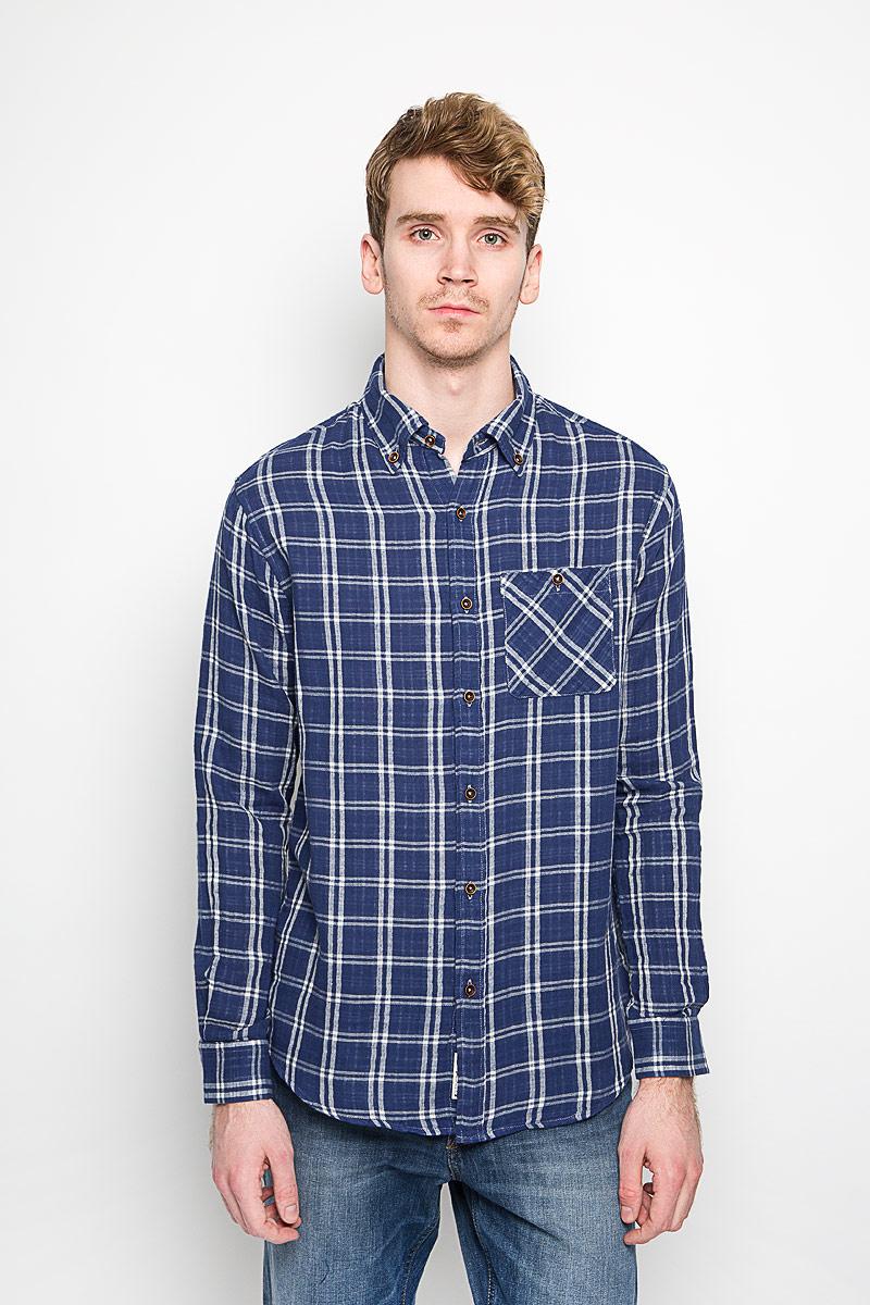 Рубашка мужская Lee Cooper, цвет: синий, белый. M19001_0121. Размер XL (54) рубашка мужская lee cooper цвет серый lchmw044 размер xl 52