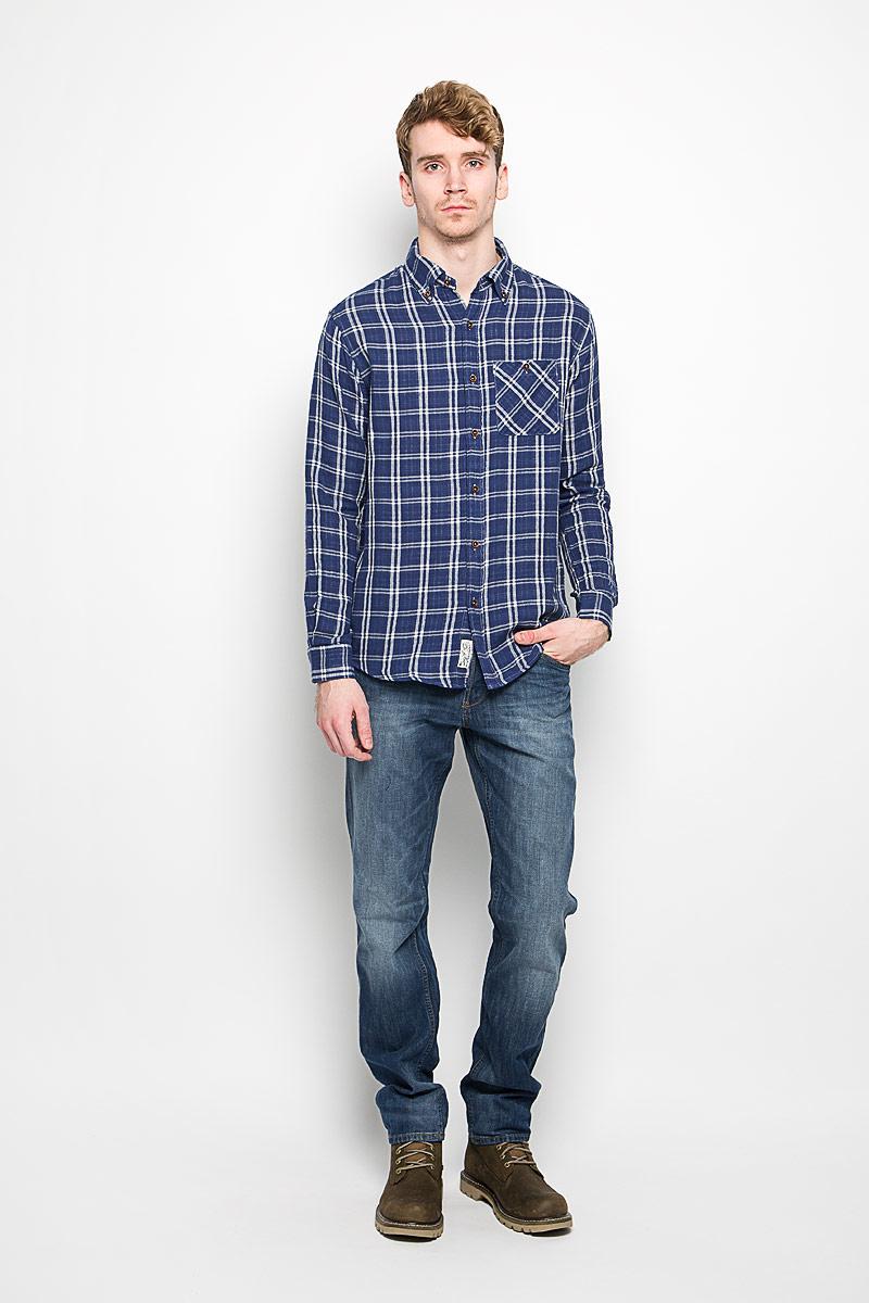 Рубашка мужская Lee Cooper, цвет: синий, белый. M19001_0121. Размер XL (54) рубашка мужская lee cooper цвет темно зеленый lchmw044 размер xxl 54