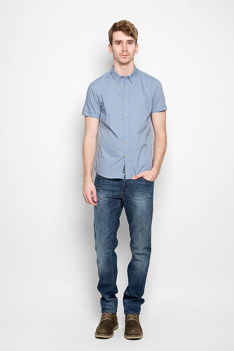 Рубашка мужская Broadway, цвет: голубой. 20100198_538. Размер XXL (54) куртка мужская broadway noam цвет черный 20100303 размер xxl 54
