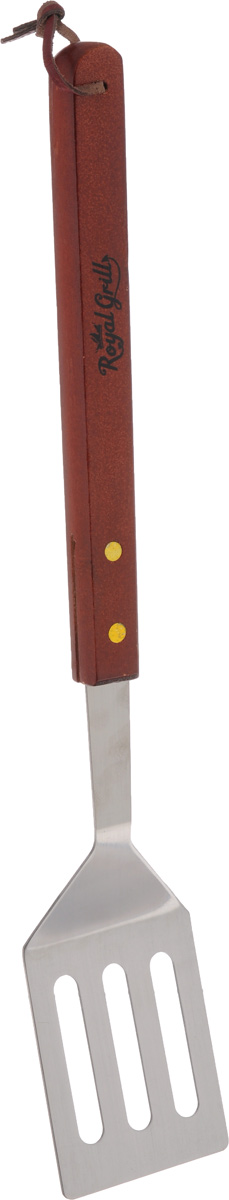 Лопатка для гриля RoyalGrill, длина 40 см80-008Лопатка для гриля RoyalGrill выполнена из нержавеющей стали и дерева. Удобная лопатка займет достойное место среди аксессуаров на вашей кухне. Оригинальный дизайн и качество исполнения не оставят равнодушными ни тех, кто любит готовить, ни опытных профессионалов-поваров. Лопатка для гриля позволит легко переворачивать продукты на гриле.Очень удобная ручка не позволит выскользнуть лопатке из вашей руки, а благодаря кожаной петле на ручке можно подвесить изделие на кухне. Длина лопатки: 40 см. Размеры рабочей части: 7 х 8,5 х 0,2 см.