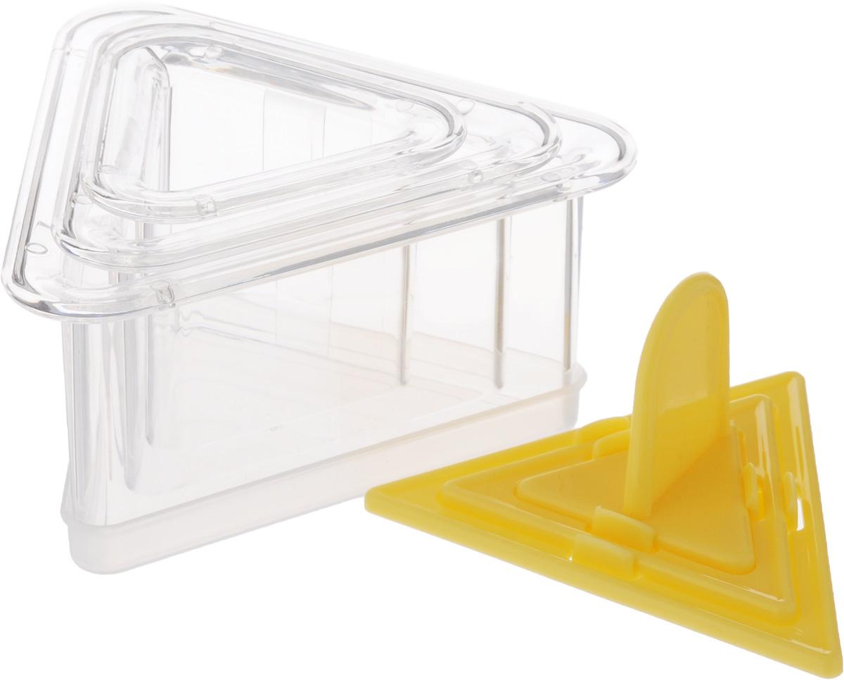 Набор для придания формы блюдам Tescoma Presto. FoodStyle, треугольники422216Набор Tescoma Presto. FoodStyle содержит 3 треугольных формочки разного размера, 3 пресса для уплотнения продукта и крышки для хранения.Такой набор отлично подходит для придания продуктам формы и приготовления многослойных закусок, гарниров и десертов. Предметы набора изготовлены из высококачественного прочного пластика.Инструкция по применению ирецепты внутри.Можно мыть в посудомоечной машине.Размер большой формочки: 12 х 10,5 х 5,5 см. Размер средней формочки: 9,5 х 8,5 х 5 см. Размер малой формочки: 6,5 х 7 х 5 см.