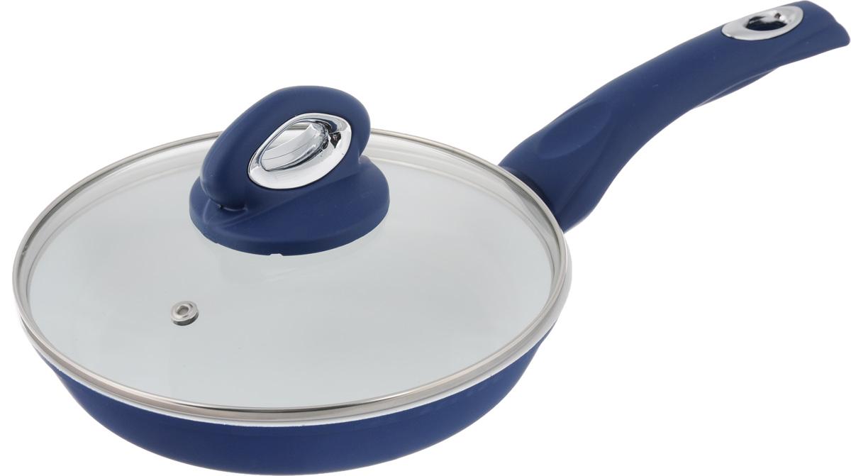 Сковорода BartonSteel с крышкой, с керамическим покрытием, цвет: синий, белый. Диаметр 20 см7040BSNEW_синий,белыйСковорода BartonSteel изготовлена из алюминия. Внутреннее керамическое покрытие абсолютно безопасно для здоровья человека и окружающей среды. С таким покрытием пища не пригорает и не прилипает к стенкам, поэтому готовить можно с минимальным количеством подсолнечного масла. Сковорода быстро разогревается, распределяя тепло по всей поверхности, что позволяет готовить в энергосберегающем режиме, значительно сокращая время, проведенное у плиты. Сковорода оснащена удобной бакелитовой ручкой с силиконовым термостойким покрытием. Такая ручка не нагревается в процессе готовки и обеспечивает надежный хват. Крышка изготовлена из жаропрочного стекла, оснащена ручкой, отверстием для выпуска пара и металлическим ободом. Благодаря такой крышке, можно следить за приготовлением пищи без потери тепла. Можно использовать на газовых, электрических, стеклокерамических, галогенных, индукционных плитах. Можно мыть в посудомоечной машине. Диаметр сковороды: 20 см. Высота стенки: 4 см. Длина ручки: 18 см.