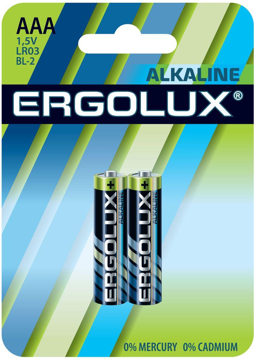 Батарейка алкалиновая Ergolux, тип LR03, 1,5 В, 2 шт11743Щелочные (алкалиновые) батарейки Ergolux оптимально подходят для повседневного питания множества современных бытовых приборов: электронных игрушек, фонарей, беспроводной компьютерной периферии и многого другого. Не содержат кадмия и ртути. Батарейки созданы для устройств со средним и высоким потреблением энергии. Работают в 10 раз дольше, чем обычные солевые элементы питания. Алкалиновые батарейки Ergolux - высокое качество и максимальная производительность.В комплекте 2 штуки.