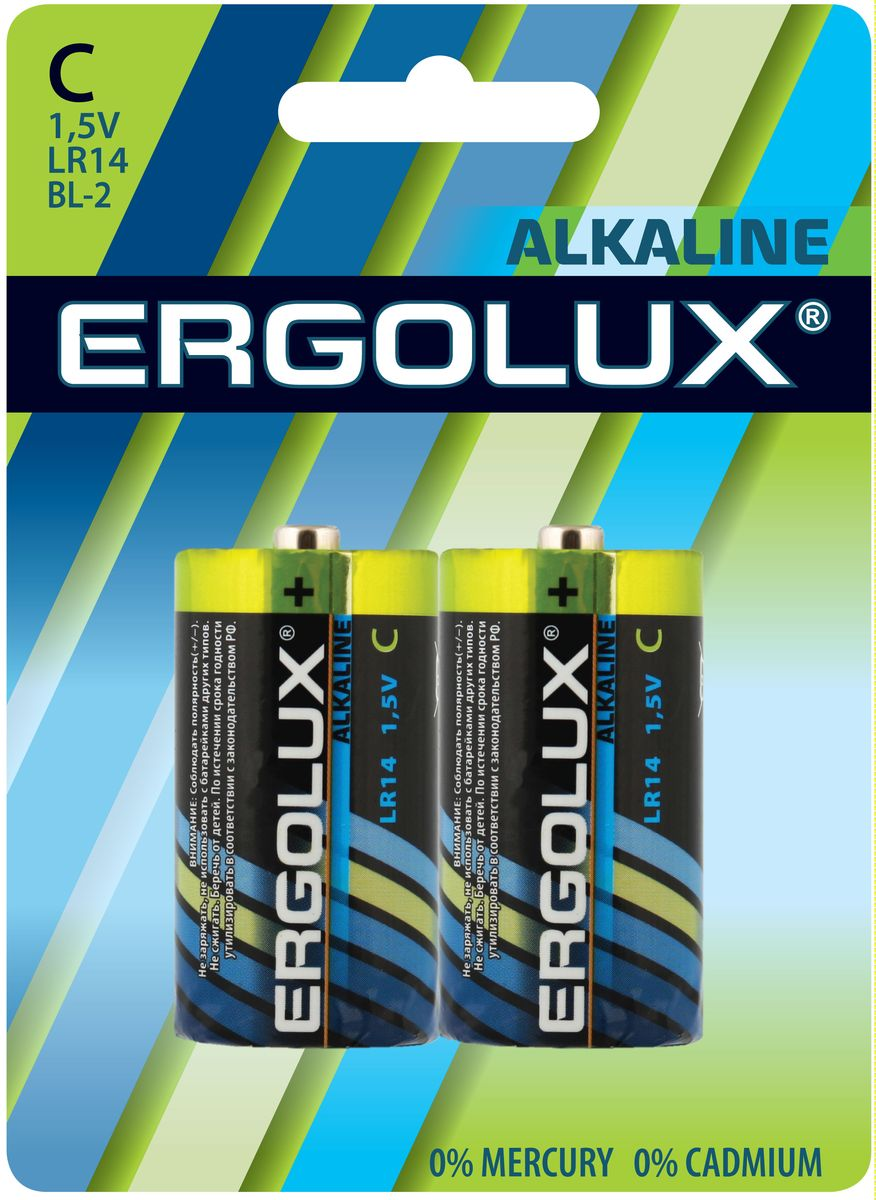 Батарейка алкалиновая Ergolux, тип LR14, 1,5 В, 2 шт11751Щелочные (алкалиновые) батарейки Ergolux рекомендуется использовать в устройствах со средним и высоким потреблением энергии (плееры, диктофоны, пульты ДУ, электробритвы, весы, фотоаппараты, фотовспышки, фонари, радиостанции и прочее). Не содержат кадмия и ртути. Батарейки созданы для устройств со средним и высоким потреблением энергии. Работают в 10 раз дольше, чем обычные солевые элементы питания. Алкалиновые батарейки Ergolux - высокое качество и максимальная производительность.В комплекте 2 штуки.