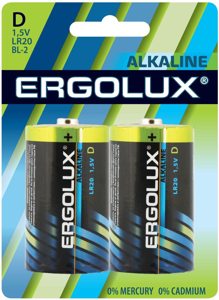 Батарейка алкалиновая Ergolux, тип LR20, 1,5 В, 2 шт11752Щелочные (алкалиновые) батарейки Ergolux рекомендуется использовать в устройствах со средним и высоким потреблением энергии (плееры, диктофоны, пульты ДУ, электробритвы, весы, фотоаппараты, фотовспышки, фонари, радиостанции и прочее). Не содержат кадмия и ртути. Батарейки созданы для устройств со средним и высоким потреблением энергии. Работают в 10 раз дольше, чем обычные солевые элементы питания. Алкалиновые батарейки Ergolux - высокое качество и максимальная производительность.В комплекте 2 штуки.