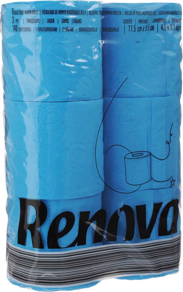 Туалетная бумага Renova Color, трехслойная, ароматизированная, цвет: синий, 6 рулонов11969Туалетная бумага Renova Color изготовлена по новейшей технологии из 100% ароматизированной целлюлозы с лосьоном, благодаря чему она имеет тонкий аромат, очень мягкая, нежная, но в тоже время прочная.Перфорация надежно скрепляет слои бумаги.Туалетная бумага Renova Color сочетает в себе простоту и оригинальность.Состав: 100% ароматизированная целлюлоза.Количество листов: 140 шт. Количество слоев: 3. Размер листа: 11,5 х 9,7 см. Количество рулонов: 6 шт.