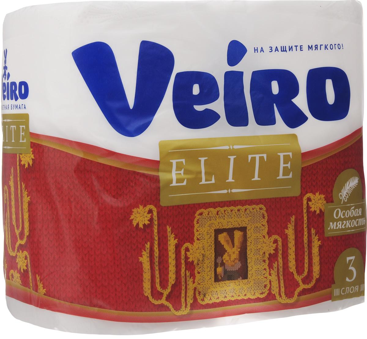 Бумага туалетная Veiro Elite, трехслойная, 4 рулона9С34Туалетная бумага Veiro Elite, выполненная из натуральной целлюлозы, обеспечивает превосходный комфорт и ощущение чистоты и свежести. Необыкновенно мягкая, но в тоже время прочная, бумага не расслаивается и отрывается строго по линии перфорации, не вызывает аллергии и раздражения. Трехслойные листы имеют рисунок с перфорацией.Количество слоев: 3. Размер листа: 12,5 х 9,5 см. Длина намотки: 20 м. Состав: 100% целлюлоза.