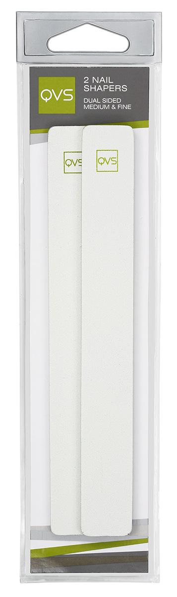 QVS Пилочки для ногтей двусторонние, с мягкими прокладками средне- и мелкозернистые, 2 шт
