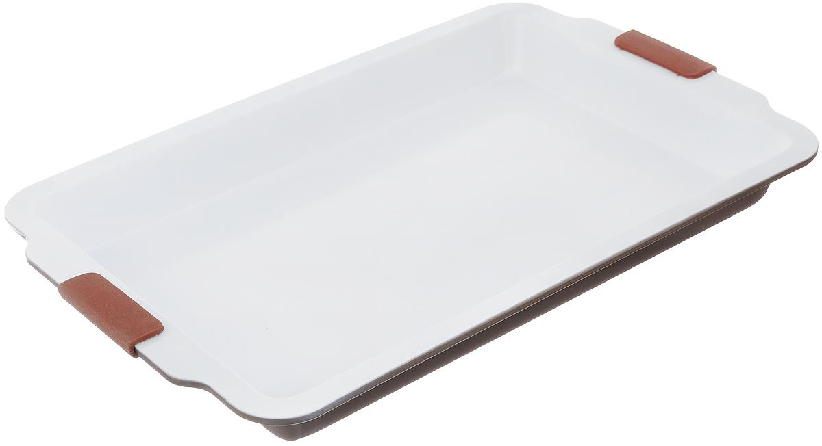 Форма для выпечки Guterwahl, с керамическим покрытием, прямоугольная, 49 х 32 х 5 смEC-S70-CERФорма для выпечки Guterwahl изготовлена из углеродистой стали с керамическим покрытием, благодаря чему пища не пригорает и не прилипает к стенкам посуды. Кроме того, готовить можно с добавлением минимального количества масла и жиров. Керамическое покрытие также обеспечивает легкость мытья. Форма идеально подходит для выпечки кексов, пирогов. Изделие имеет литые ручки с силиконовыми вставками, что существенно облегчает процесс готовки.Не рекомендуется мыть в посудомоечной машине.Внутренний размер формы: 42 х 27 см. Внешний размер формы (с учетом ручек): 49 х 32 см. Высота стенок формы: 5 см.
