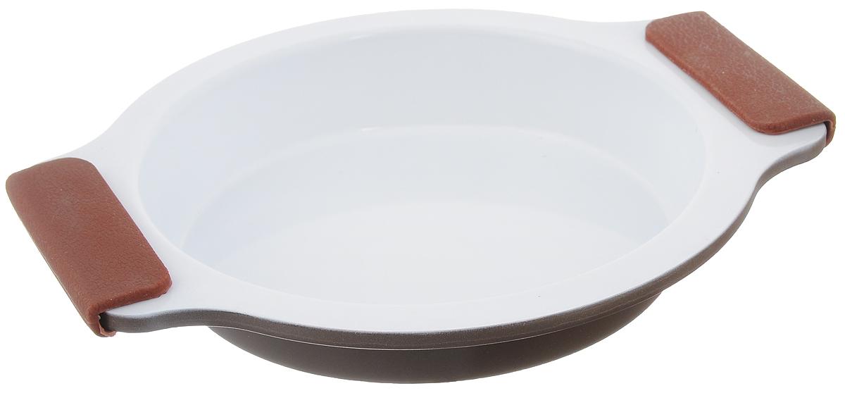 Форма для выпечки Guterwahl, с керамическим покрытием, круглая, диаметр 20 смEC-RS01-CERФорма для выпечки Guterwahl изготовлена из углеродистой стали с керамическим покрытием, благодаря чему пища не пригорает и не прилипает к стенкам посуды. Кроме того, готовить можно с добавлением минимального количества масла и жиров. Керамическое покрытие также обеспечивает легкость мытья. Форма идеально подходит для выпечки кексов, пирогов. Изделие имеет литые ручки с силиконовыми вставками, что существенно облегчает процесс готовки.Не рекомендуется мыть в посудомоечной машине.Внутренний диаметр формы: 16,5 см. Внешний размер формы (с учетом ручек): 23,5 х 20 см. Высота стенок формы: 3,5 см.