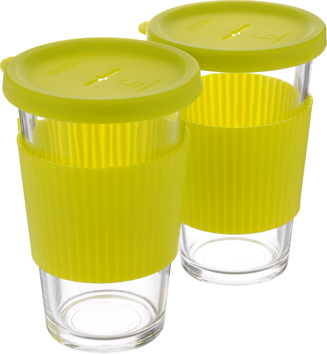 Набор стаканов Glasslock, с крышкой, цвет: прозрачный, желтый, 2 предмета, 380 мл8202-PNНабор стакан Glasslock изготовлен извысококачественного термостойкого стекла иснабжен крышкой. Силиконовая крышка имеет отверстие для подвешивания пакетика чая. Использованный пакетик после завариванияудобно положить на крышку. В таком стакане лучше всего заваривать чай и другие оздоровительныенапитки. Стакан имеет силиконовый держатель, дляпредохранения рук от высокой температуры напитка. Стакан Glasslock можно комфортно использовать на работе или вофисе, также взять с собой в путешествие, чтобы вашлюбимый чай был всегда с вами. Можно мыть в посудомоечной машине ииспользовать в микроволновой печи. Стаканы дляхранения напитков в холодильнике иморозильной камере. Не использовать в духовке. Объем стакана: 380 мл. Диаметр стакана (по верхнему краю): 8,5 см.Высота стакана (с учетом крышки): 14 см.