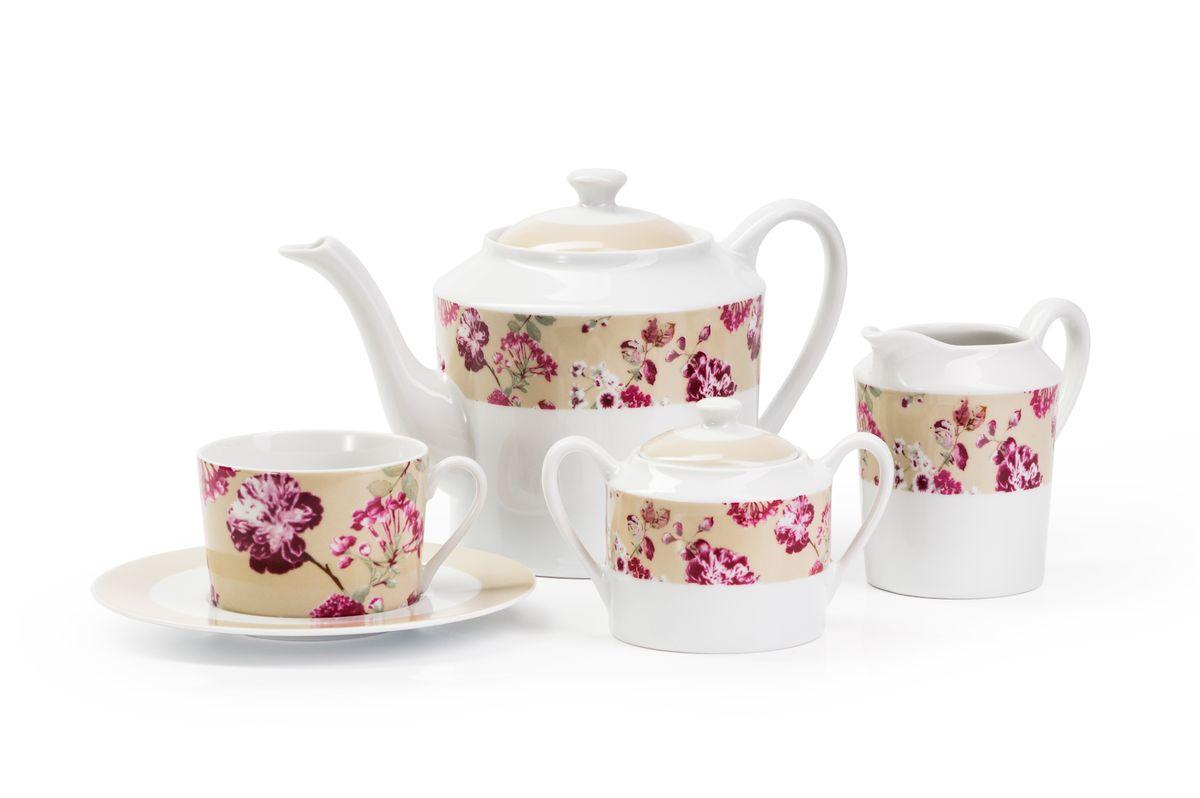 Сервиз чайный La Rose des Sables Liberty, 15 предметов839510 2150Сервиз чайный La Rose des Sables Liberty изготовлен из фарфора.Благодаря двойному термическому обжигу, тонкостенный фарфор обладает высокой ударопрочностью. Сервиз станет ярким акцентом в сервировке вашего стола. Отлично смотрится и в классическом, и в современном интерьере. В набор входят: 6 чашек, 6 блюдец, чайник, сахарница с крышкой, молочник.Объем чашек: 220 мл.Объем чайника: 1,2 л.Объем сахарницы: 250 мл.Объем молочника: 300 мл.