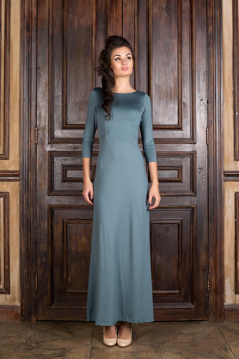 Платье Анна Чапман, цвет: серый. P20E-H. Размер 40P20E-HВеликолепное платье Анна Чапман, выполненное из нежнейшей ткани, идеально сидит благодаря правильным выточкам. Модель выполнена из полиэстера с добавлением эластана.Платье-макси приталенного кроя с вырезом горловины лодочка и рукавами 3/4 подойдет как для вечернего выхода, так и на каждый день. Спинка оформлена неглубоким V-образным вырезом.