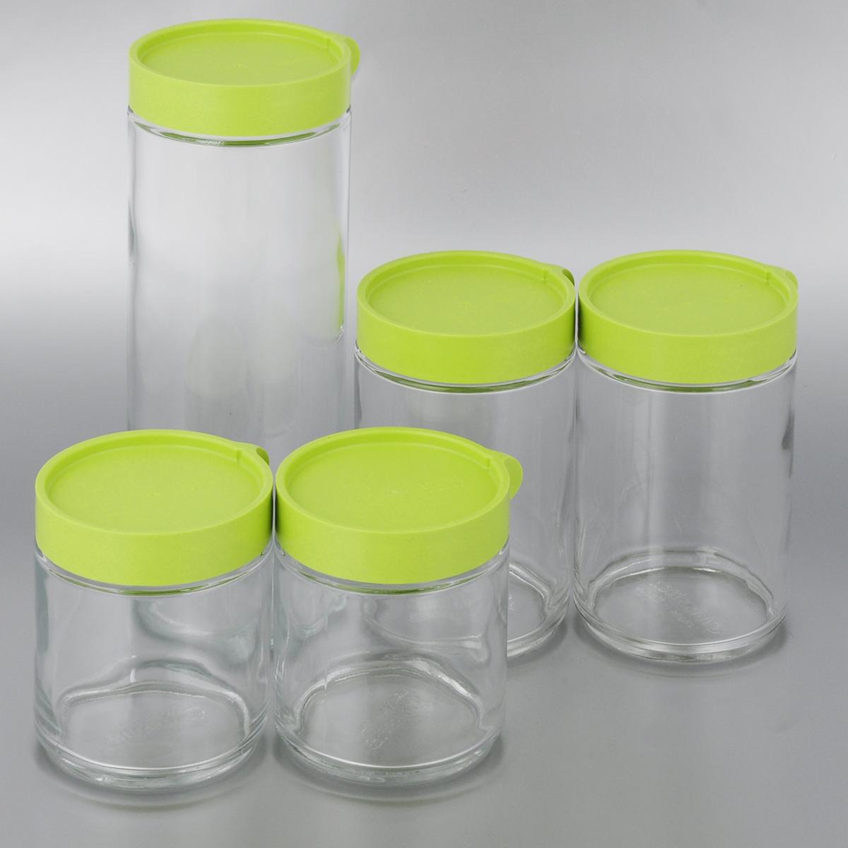 Набор емкостей для сыпучих продуктов Glasslock, 5 штIG-631Набор Glasslock, изготовленный извысококачественного стекла и пластика, состоит из5 емкостей разного объема. Емкостипрекрасно подойдут для хранения различныхсыпучих продуктов:специй, чая, кофе, сахара, круп и многого другого.Изделия удобно ставятся друг на друга дляэкономии места на кухне.Емкости надежно закрываются крышками.Благодаря этому они будут дольшесохранять свежесть ваших продуктов.Функциональные и вместительные, такие емкостистанут незаменимымиаксессуарами на любой кухне. Можно мытьв посудомоечной машине. Не рекомендуетсяиспользовать в духовом шкафу и микроволновойпечи.Объем емкостей: 0,4 л; 0,4 л; 0,6 л; 0,6 л; 1 л л.Диаметр емкостей (по верхнему краю): 7,5 см.Высота емкостей: 10,5 см; 10,5 см; 14,5 см; 14,5 см;24 см.