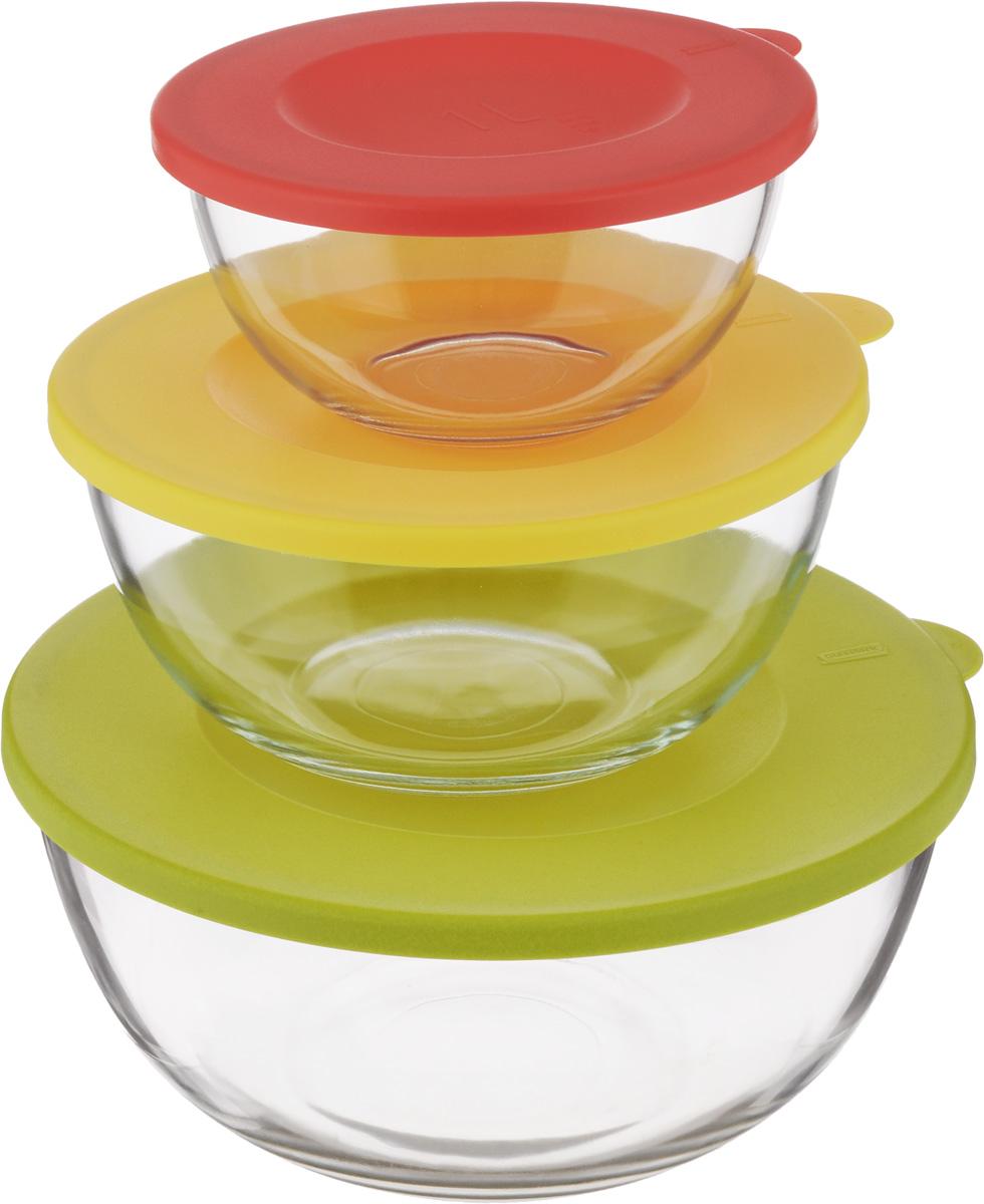 Набор круглых чаш Glasslock, с крышками, 3 шт. GL-115703875-084-66Набор Glasslock состоит из трех круглых чаш. Изделия выполнены из закаленногоударопрочного стекла и оснащены пластиковыми крышками. Изделия плотно игерметично закрываются крышками, что позволяет продуктам дольше оставатьсясвежими, сохранять аромат и вкус. Благодаря прозрачным стенкам, можно видетьсодержимое.Такие чаши подходят для повседневного использования. Они идеальны дляовсяных хлопьев, фруктов, риса и многого другого. Также в них можноприготовить салаты. Приятный дизайн подойдет практически для любого случая.Можно мыть в посудомоечной машине, использовать в СВЧ-печах. Подходят дляхранения пищи в холодильнике и морозильнике. Не использовать в духовке.Объем чаш: 1 л, 2 л, 4 л.Размер чаши 1 л: 16,5 х 16,5 х 8,5 см.Размер чаши 2 л: 21 х 21 х 10 см.Размер чаши 4 л: 26 х 26 х 12 см.
