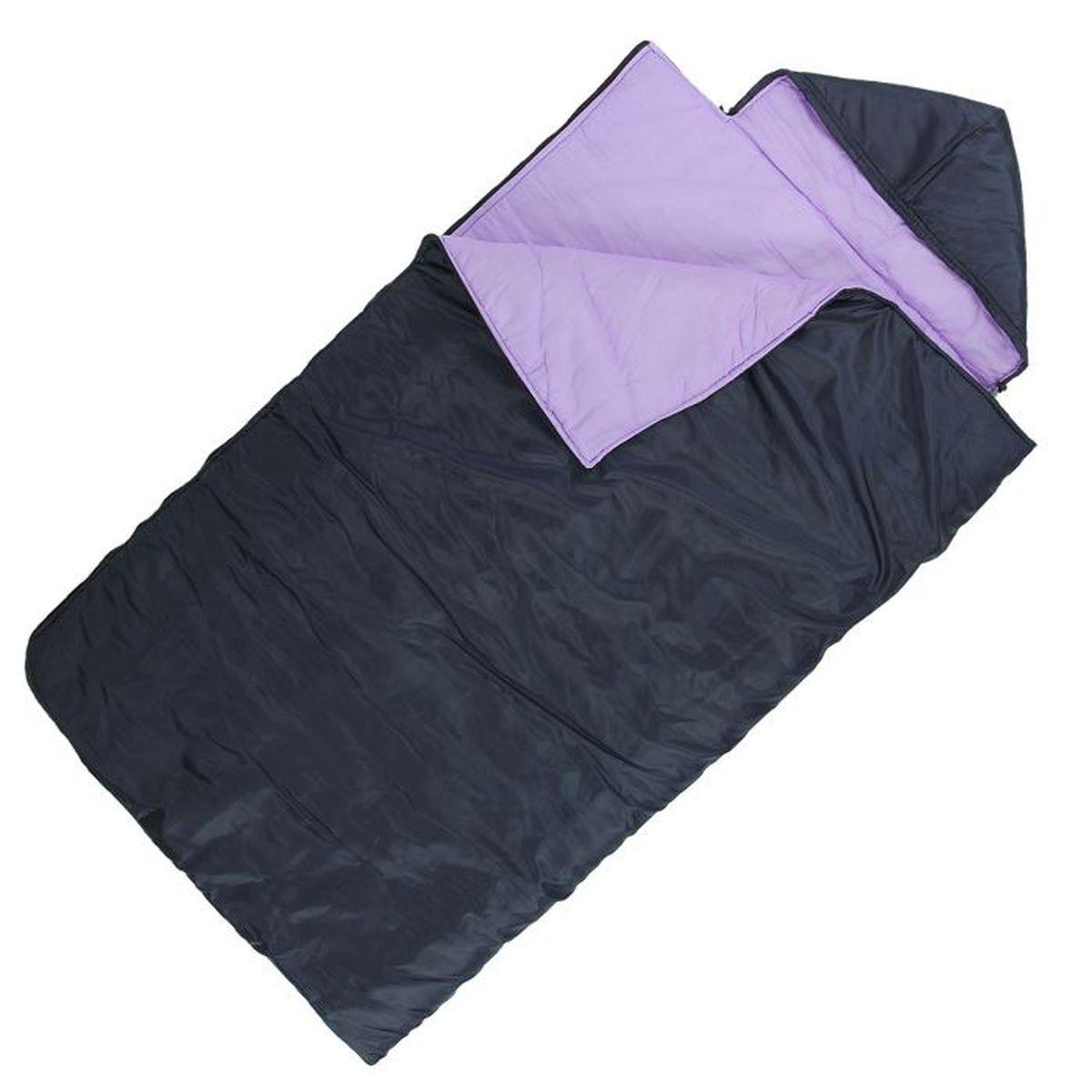 Спальный мешок Onlitop Престиж, увеличенный, цвет: черный, фиолетовый, правосторонняя молния. 10090811009081Комфортный, просторный и очень теплый 3-х сезонный спальник Onlitop Престиж предназначен для походов и для отдыха на природе не только в летнее время, но и в прохладные дни весенне-осеннего периода. В теплое время спальный мешок можно использовать как одеяло (в том числе и дома).Он выполнен из качественных материалов - синтепона, хлопка, ситца и полиэстера, которые обладают достойными теплоизоляционными характеристиками, и чрезвычайно прочны, что делает спальный мешок очень долговечным. Длина мешка - 2,25 м, его ширина - 1 м, это позволяет разместиться в нём человеку практически любой комплекции. Этому спальнику всегда найдется применение среди любителей активного отдыха, а места в сложенном виде он занимает мало.