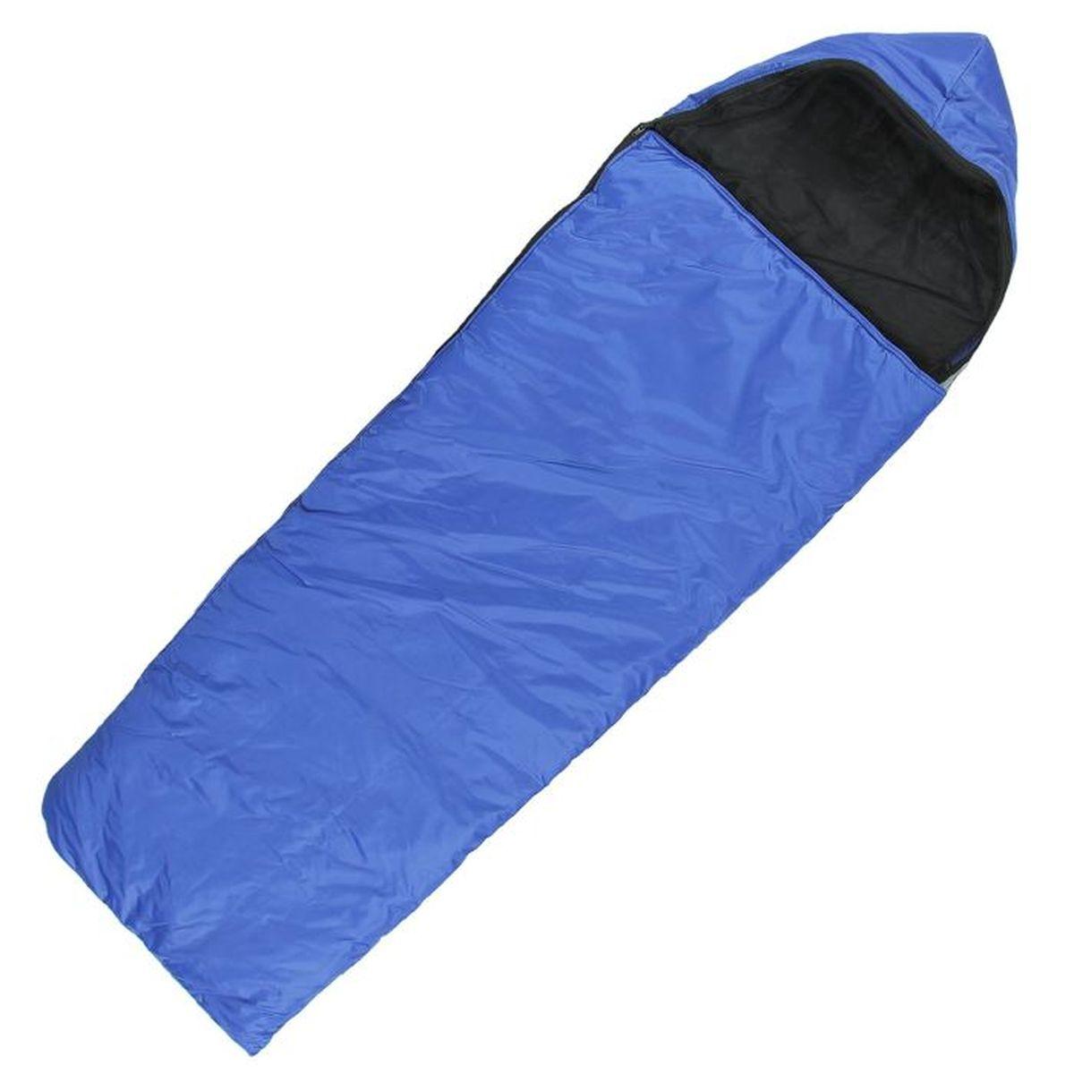 Спальный мешок Onlitop Люкс, цвет: синий, правосторонняя молния. 11359911135991Комфортный, просторный и очень теплый 3-х сезонный спальник Onlitop Люкс предназначен для походов и для отдыха на природе не только в летнее время, но и в прохладные дни весенне-осеннего периода. В теплое время спальный мешок можно использовать как одеяло (в том числе и дома).Он выполнен из качественных материалов - оксфорда, синтепона, хлопка и полиэстера (из которого выполнены подкладка и наружный слой), которые обладают хорошими теплоизоляционными характеристиками, но и очень прочны, что сделало спальный мешок весьма долговечным. Длина мешка - 225 см, его ширина - 70 см, что обусловлено его узкой формой. Правосторонняя молния удобна для использования - она быстро застегивается и расстегивается, минимизируя потерю тепла. Этому спальнику всегда найдется применение среди любителей активного отдыха, а места в сложенном виде в чехле он занимает мало. Спальник обладает маленьким весом, всего 1980 г, это упрощает его транспортировку в походе.