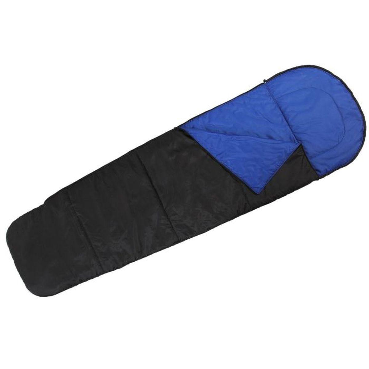 Мешок спальный Onlitop Кокон, цвет: черный, синий, правосторонняя молния спальный мешок onlitop престиж цвет черный бежевый правосторонняя молния 1344029