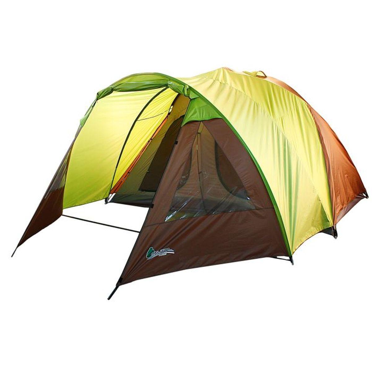 Палатка туристическая Onlitop Minnesota, 6-местная, цвет: желтый, коричневый867028Если вы заядлый турист или просто любитель природы, вы хоть раз задумывались о ночевке на свежем воздухе. Чтобы провести ее с комфортом, вам понадобится отличная палатка Onlitop Minnesota. Она обеспечит безопасный досуг и защитит от непогоды и насекомых. Ткань рипстоп гарантирует длительную эксплуатацию палатки за счет высокой прочности материала.Конструкция палатки:- 2 палатки объединены общим тамбуром;- 1 вход в тамбур;- отдельный вход в каждую палатку.Внутреннее оснащение:- москитная сетка на входе;- 2 больших окна в тамбуре;- 6 вентиляционных окон;- карманы для хранения вещей.Размер палатки: 448 x 370 x 190 см (тамбур, 240 см + комната, 208 см).