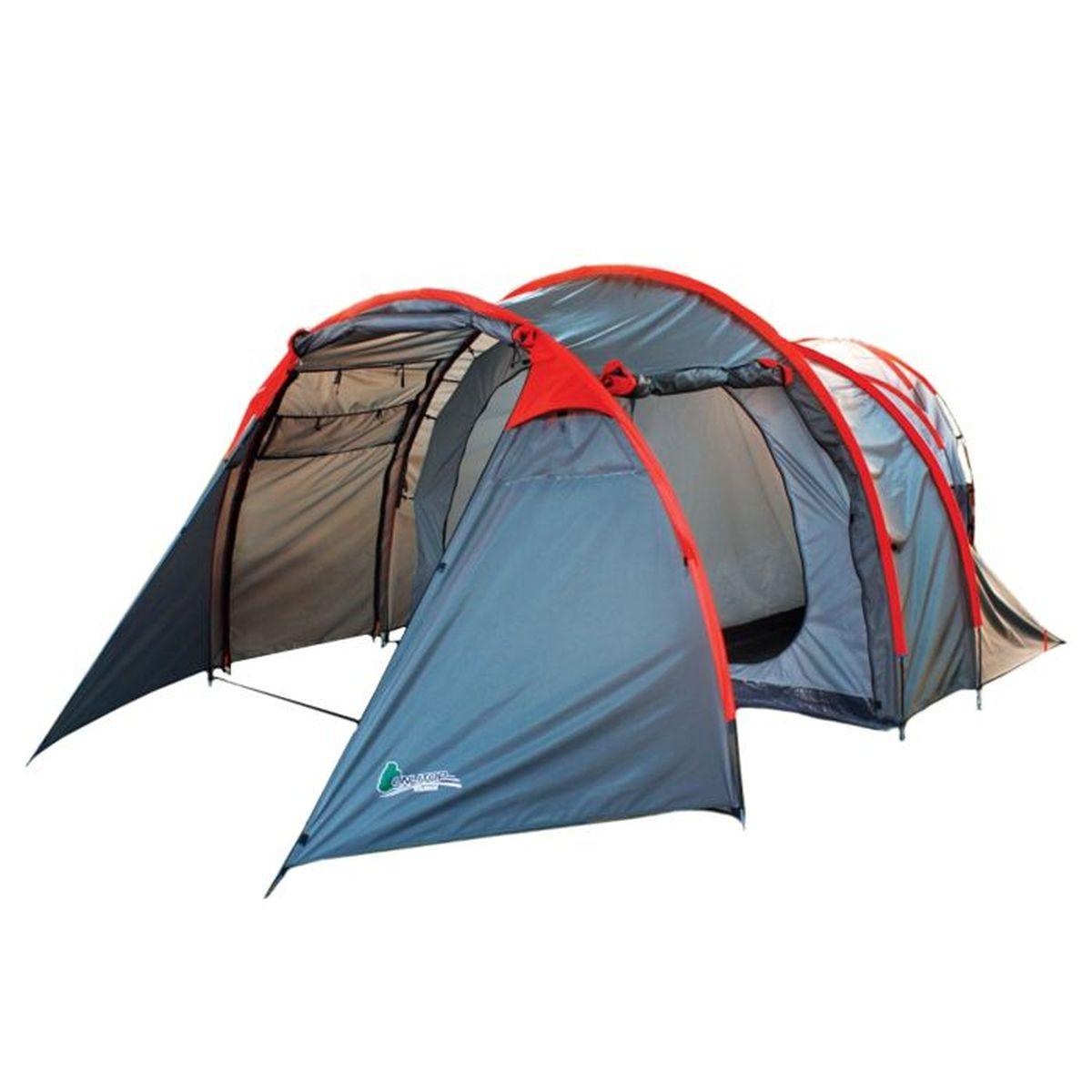 Палатка туристическая Onlitop Voyager, 4-местная, цвет: серый70101Туристическая палатка Onlitop Voyager - универсальный инвентарь для походов и семейного отдыха на природе. Она обеспечит надежную защиту от дождя, ветра и зноя, а также оградит от мелких насекомых, грызунов и змей. Увеличенный тамбур с двумя входами позволяет разместить инвентарь за пределами палатки. Шесть вентиляционных окон помогут проветрить палатку, что особенно актуально при ее большой вместимости. Несмотря на объемность, конструкция легка в сборке. Положите палатку в багажник машины, рюкзак или несите ее за удобные ручки и наслаждайтесь досугом.Конструкция палатки: - 2 палатки объединены одним большим тамбуром для хранения вещей; - 2 входа в тамбур; - отдельный вход в каждую палатку; - москитная сетка на входе.Внутреннее оснащение: - 6 вентиляционных окон; - карманы для хранения вещей.Размер палатки: 500 x 300 x 200 см (тамбур 80 см + тамбур 160 см + 2 комнаты по 130 см).Что взять с собой в поход?. Статья OZON Гид