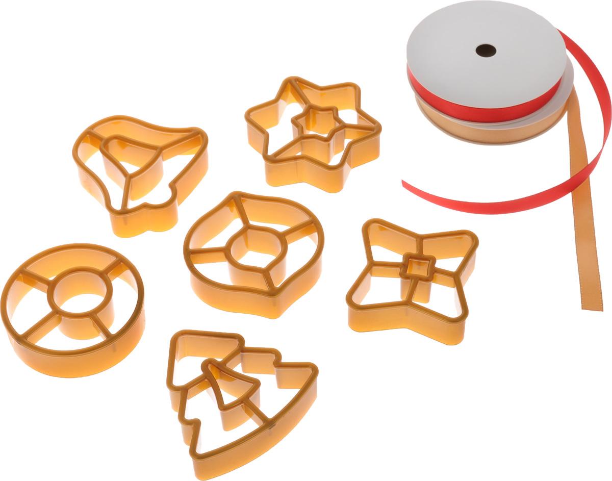 Набор форм для изготовления пряников Tescoma Delicia. Рождественские украшения, с кольцом для хранения и лентами, 9 предметов630916Набор Tescoma Delicia. Рождественские украшения состоит из 6 пластиковых формочек, двух лент и кольца для хранения формочек. Такой набор отлично подойдет для изготовления оригинальных пряничных украшений для рождественской елки и для приготовления традиционного рождественского печенья.Инструкция по применению и рецепт внутри упаковки. Пластиковые части можно мыть в посудомоечной машине.Средний размер формочек: 6 х 6 см.Длина лент: 3 м.