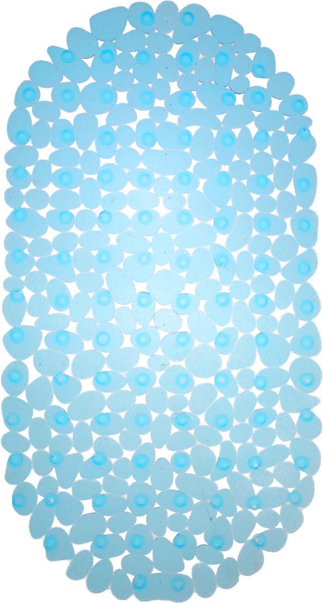 Коврик для ванны Vortex Галька, противоскользящий, овальный, цвет: голубой, 36 х 69 см. 1504255765Коврик Vortex Галька, изготовленный из ПВХ,предназначен для использования в ваннойкомнате и душевой кабине против скольжения.Коврик крепится на дно ванны с помощьюнебольших вакуумных присосок. Благодарярельефной поверхности, коврик предотвращаетскольжение и исключает возможность падения вванне. Размер коврика: 36 х 69 см.