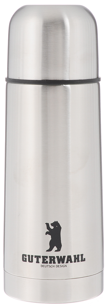 Термос Guterwahl, 350 мл. ZC-5026-350ZC-5026-350Термос Guterwahl изготовлен из высококачественной нержавеющей стали с матовой полировкой. Двойные стенки обеспечивают долгое сохранение температуры напитка. Подходит для горячих и холодных напитков. Благодаря плотно закручивающейся пробке внутри создается абсолютная герметичность, что предотвращает проливание напитков. Верхнюю крышку можно использовать в качестве чаши для напитка.Стильный функциональный термос будет незаменим в дороге, на пикнике. Его можно взять с собой куда угодно, и вы всегда сможете наслаждаться горячим домашним напитком. Не рекомендуется мыть в посудомоечной машине.Высота термоса (с учетом крышки): 19,5 см. Диаметр основания: 6,5 см. Диаметр горлышка: 4,5 см.