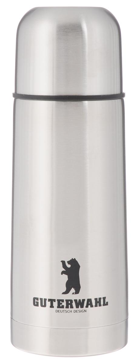 """Термос """"Guterwahl"""" изготовлен из  высококачественной нержавеющей стали с матовой полировкой. Двойные стенки  обеспечивают долгое сохранение температуры  напитка. Подходит для горячих и холодных  напитков. Пробка плотно закручивается.  Благодаря вакуумной кнопке внутри создается  абсолютная герметичность, что предотвращает  проливание  напитков. Верхнюю крышку можно использовать в  качестве чаши для напитка.   Стильный функциональный термос будет  незаменим в дороге, на пикнике. Его можно взять с  собой куда угодно, и  вы всегда сможете наслаждаться горячим  домашним напитком. Не рекомендуется  мыть в посудомоечной машине. Высота термоса (с учетом крышки): 20 см.  Диаметр основания: 6,5 см.  Диаметр горлышка: 4,5 см."""