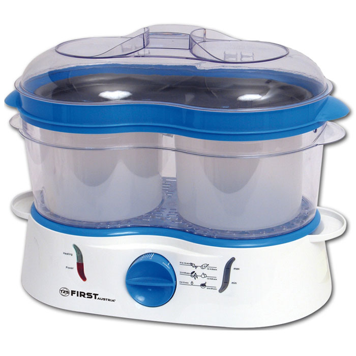 First FA-5101, Blue пароваркаFA-5101 BlueПароварка First FA-5101 идеально подойдет для бережного приготовления пищи на пару с сохранением витаминов. Две большие чаши для варки позволяют готовить 2 блюда одновременно. Данная модель оснащена беспригарочным поддоном,индикатором уровня воды и световым индикатором работы. Также имеется таймер на 60 минут.