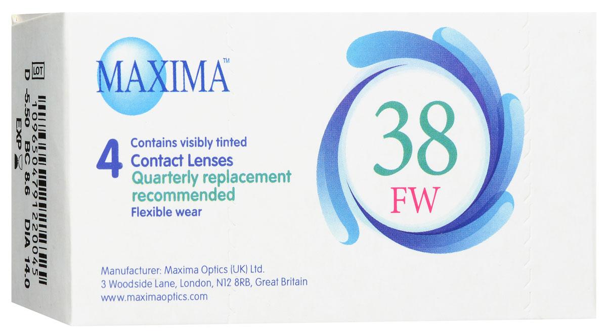 Maxima контактные линзы 38 FW (4 шт / 8.6 / -5.50)08928Линзы квартальной замены Maxima 38 FW обладают отличными клиническими характеристиками в сочетании с доступной ценой. Идеальны для перехода пациентов с традиционных линз к плановой замене. Ровный тонкий профиль края линзы Maxima 38 FW, незначительная толщина в центре обеспечивают комфорт ношения и улучшают кислородную проницаемость к роговице.Замена через 3 месяца. Характеристики:Материал: полимакон. Кривизна: 8.6. Оптическая сила: - 5.50. Содержание воды: 38%. Диаметр: 14 мм. Количество линз: 4 шт. Размер упаковки: 9,5 см х 5 см х 2 см. Производитель: США. Товар сертифицирован.Контактные линзы или очки: советы офтальмологов. Статья OZON Гид