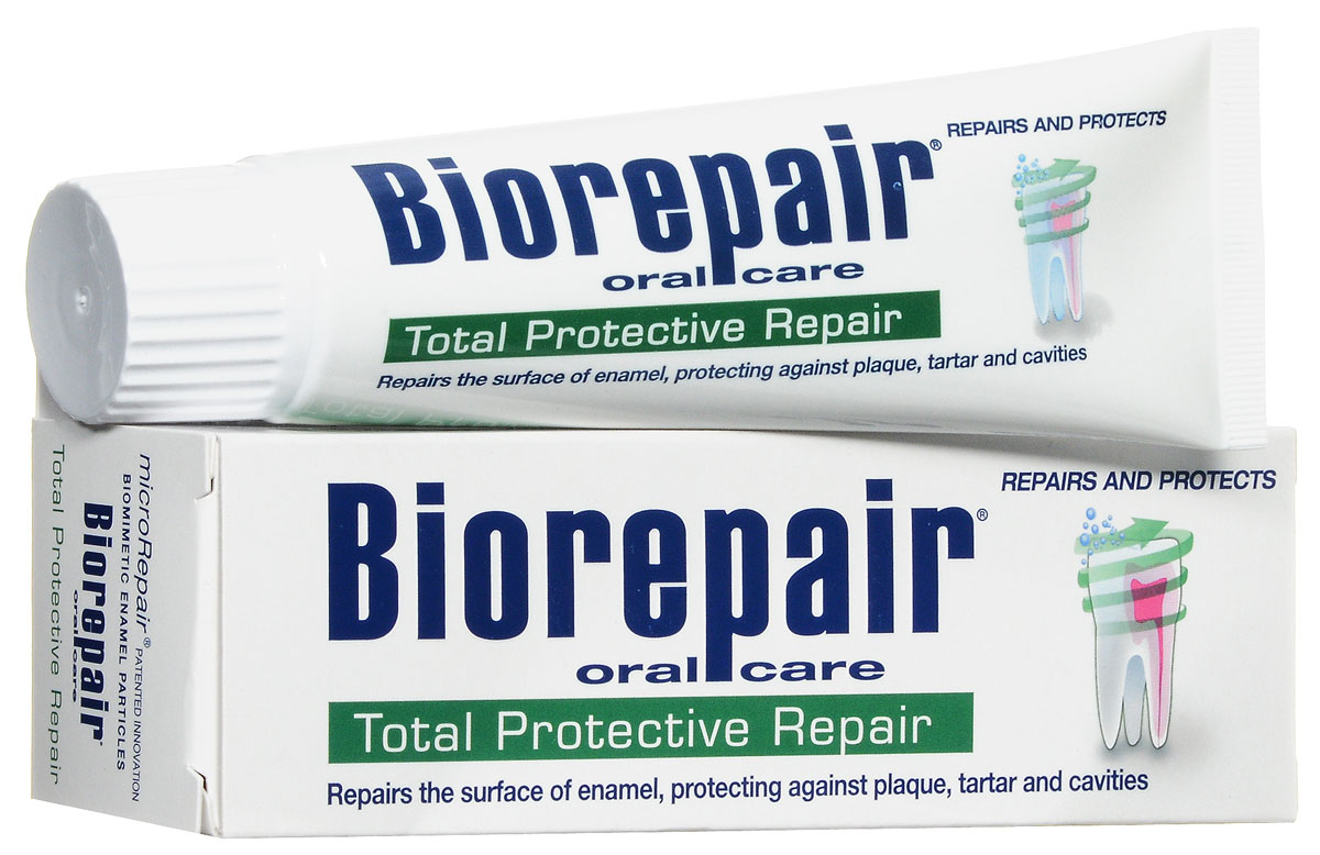 Biorepair Зубная паста для комплексной защиты полости рта Total Protection Plus, 75 млGA1014700Восстанавливает зубную эмаль с помощью microrepair. Устраняет зубной нале?т и предотвращает появление зубного камня