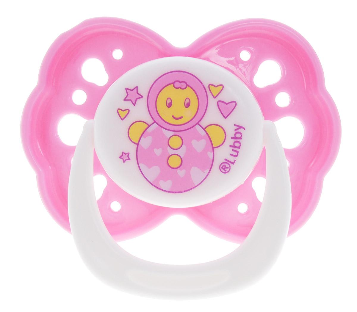 Lubby Пустышка силиконовая Малыши и малышки от 0 месяцев цвет розовый