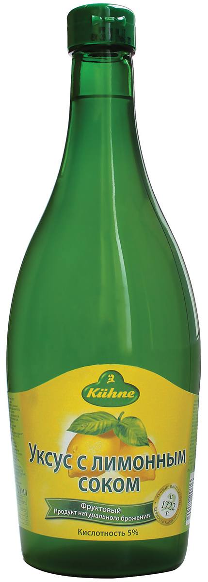 Kuhne Vinegar Lemon уксус 5% с лимонным соком, 750 мл kuhne apple vinegar уксус 5