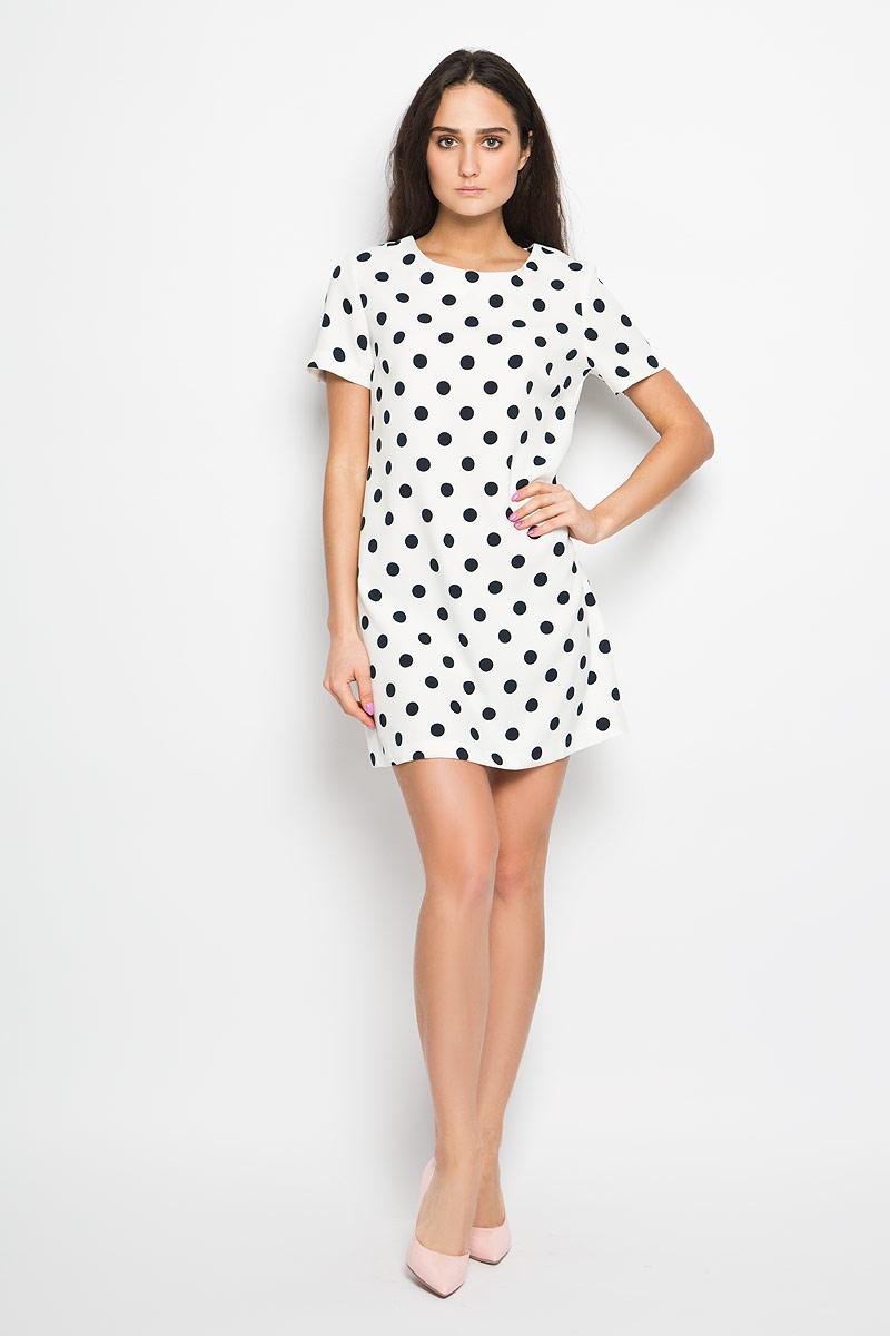 Платье Sela, цвет: белый, темно-синий. Ds-117/809-6133. Размер 46Ds-117/809-6133Элегантное платье Sela выполнено из эластичного полиэстера. Такое платье обеспечит вам комфорт и удобство при носке.Модель с короткими рукавами и круглым вырезом горловины выгодно подчеркнет все достоинства вашей фигуры. Платье застегивается сзади на металлическую застежку-молнию. Это модное и удобное платье станет превосходным дополнением к вашему гардеробу, оно подарит вам удобство и поможет вам подчеркнуть свой вкус и неповторимый стиль.