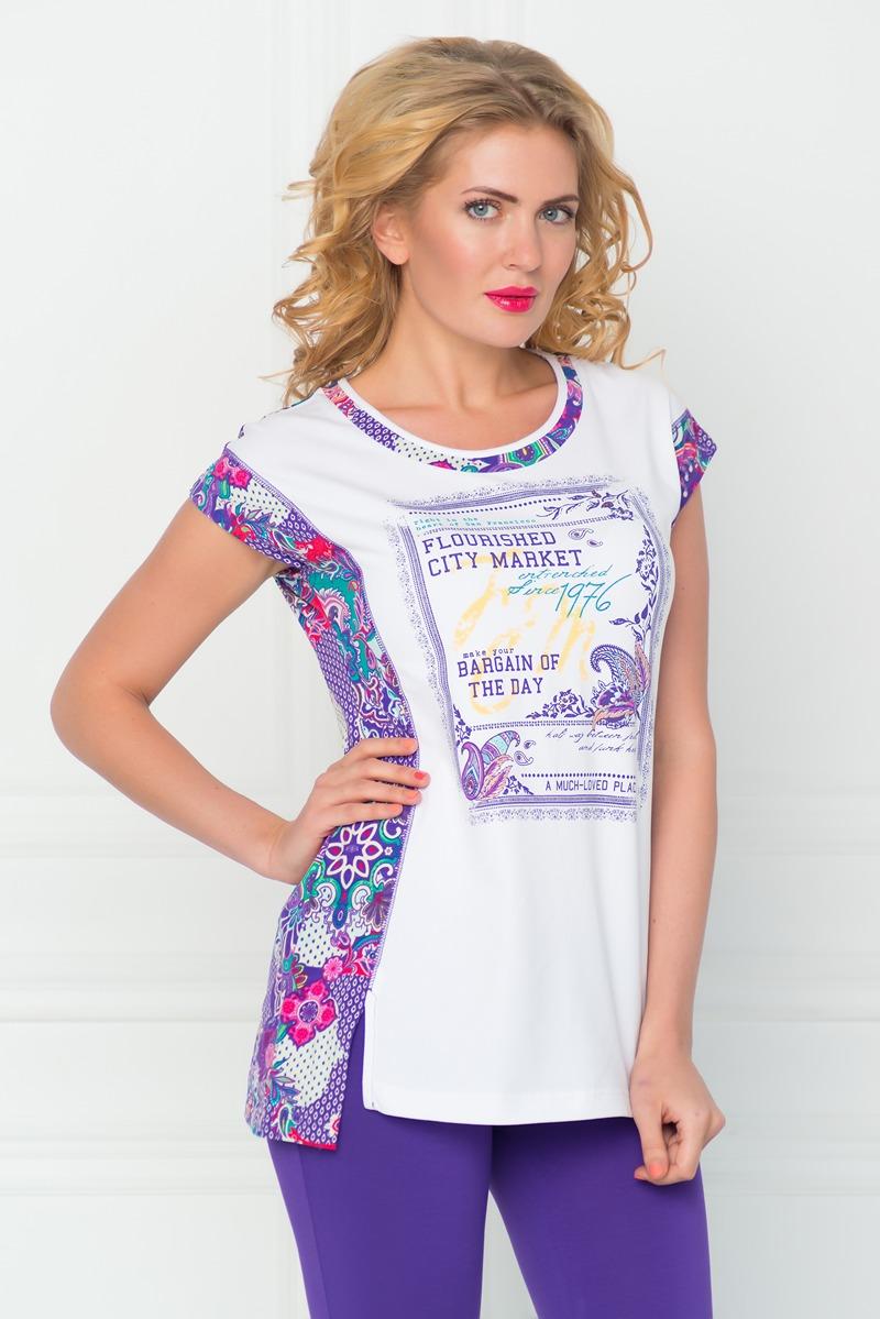 Туника женская BeGood, цвет: фиолетовый, белый. SS16-BGUZ-493. Размер 46
