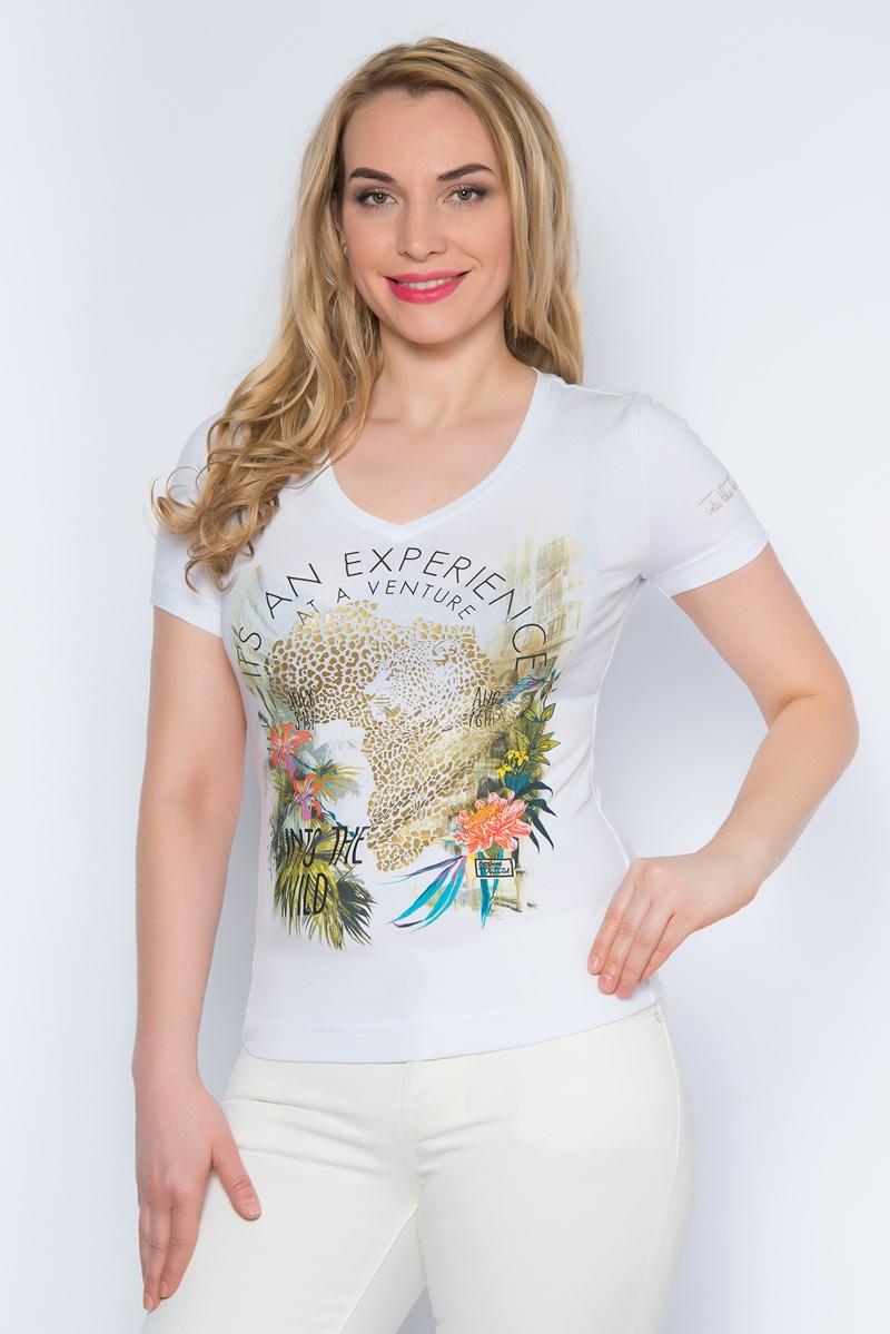 Футболка женская BeGood, цвет: белый. SS16-BGUZ-496. Размер 44SS16-BGUZ-496Стильная женская футболка BeGood изготовлена из эластичного хлопка.Приталенная модель с короткими рукавами и V-образным вырезом горловины оформлена оригинальным цветочным принтом.
