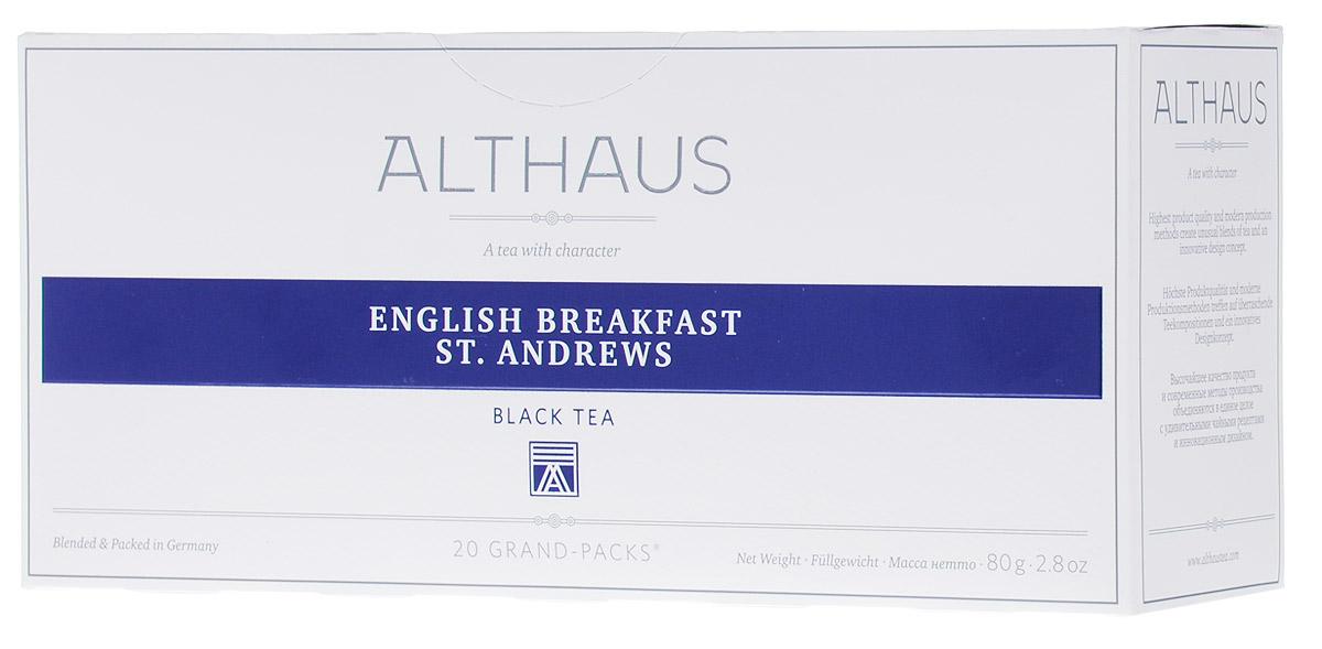 Althaus Grand Pack English Breakfast черный чай в пакетиках, 20 штTALTHB-GP0028Althaus English Breakfast(Инглиш Брэкфаст Сент Эндрюс) — купаж из лучших цейлонский сортов, традиционный чай для завтрака. Инглиш Брэкфаст Сент Эндрюс славится своим крепким насыщенным вкусом и ярким ароматом.