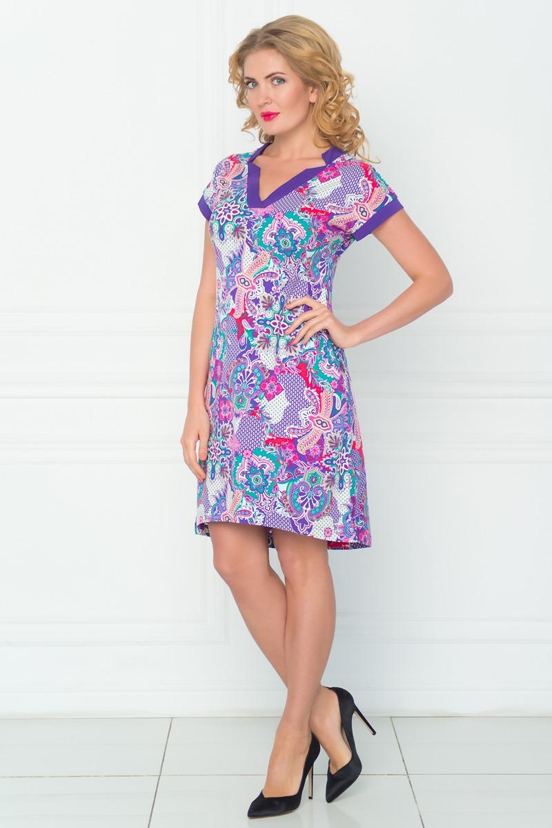 Платье BeGood, цвет: фиолетовый, белый. SS16-BGUZ-525. Размер 46 цена