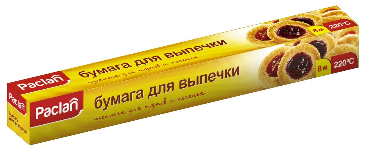 Бумага для выпечки Paclan, 8 м х 38 см163301/400132Бумага для выпечки Paclan широко используется в хозяйстве, как для приготовления выпечки и всевозможных блюд, так и для хранения продуктов, содержащих жиры и влагу, таких как сливочное масло, творожные изделия, бутерброды, готовые блюда из рыбы и другие продукты. Форму не нужно смазывать маслом, что предотвращает пригорание выпечки. Бумага изготовлена из экологически чистого и абсолютно безвредного для здоровья материала.Длина бумаги: 8 м.Ширина бумаги: 38 см.