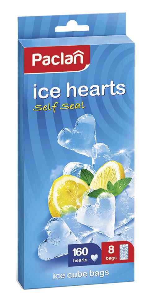 Пакетики для приготовления льда Paclanочень удобны в использовании. Лед,  приготовленный в пакетах, удобно использовать – просто надавите на пакет.А  также лед, приготовленный в пакетиках, всегда будет чистым и без посторонних  запахов! Вам надоели обыкновенные кубики льда? Теперь можете сделать их в  форме сердечек. А если в воду добавите, например, малиновый сироп, то  сердечки будут красными. Можете удивить своих домашних, знакомых и друзей.