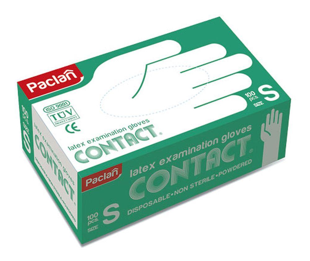 Перчатки латексные Paclan Contact, 100 шт. Размер S135700/350104/350103Перчатки из латекса многофункциональны. Они могут стать незаменимым помощником при ремонте и уборке помещений, при стирке и даже при окраске волос.