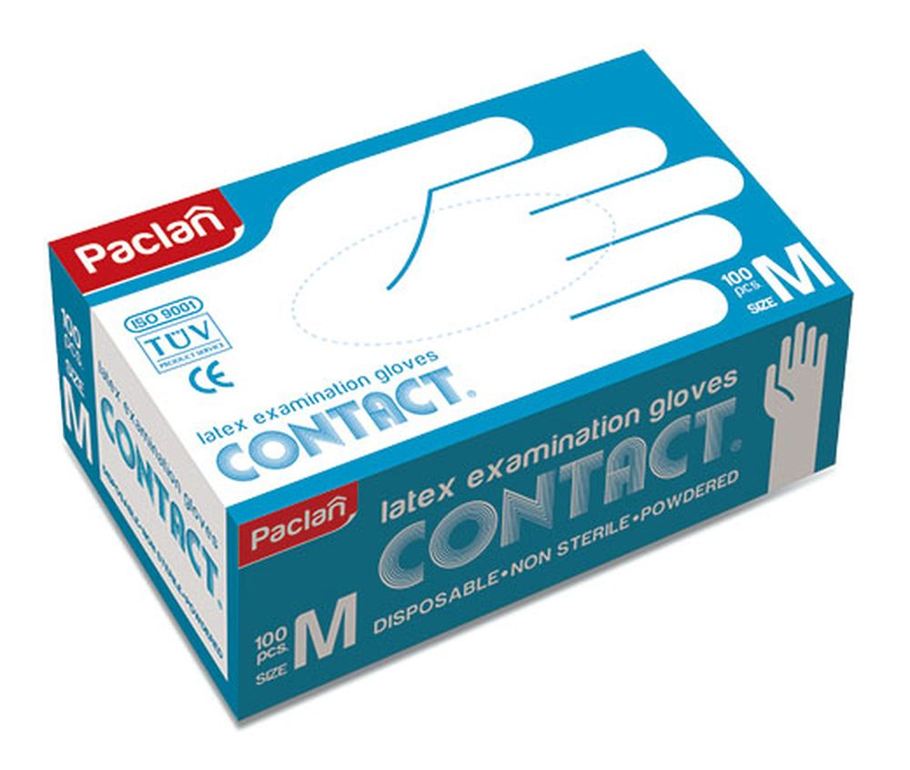 Перчатки латексные Paclan, 100 шт. Размер M135710/350115/350113/350114Перчатки из латекса многофункциональны. Они могут стать незаменимым помощником при ремонте и уборке помещений, при стирке и даже при окраске волос.