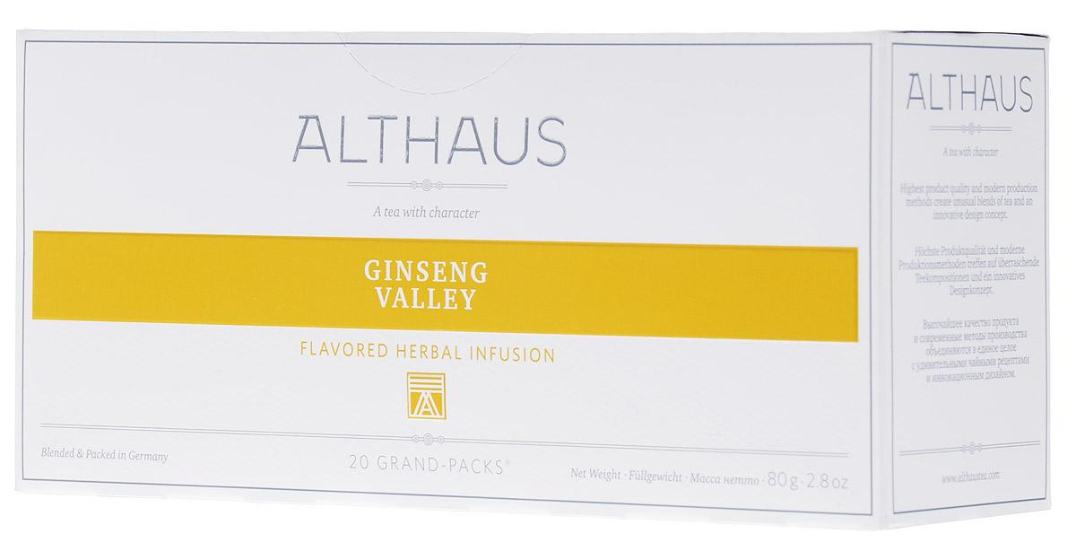 Althaus Grand Pack Ginseng Valley травяной чай в пакетиках, 20 штTALTHB-GP0039Althaus Ginseng Valley (Женьшеневая Долина) — уникальный велнес-напиток на основе целебных трав. В этот купаж входят женьшень, зверобой, листья березы и крапивы, лимонник, сандал. Женьшень улучшает самочувствие, лимонник дарит бодрость, а зверобой, известный как трава от девяноста девяти болезней, укрепляет организм.Сочный персик и нежные цветы апельсина делают этот уникальный напиток не только полезным, но и исключительно приятным на вкус. Всё о чае: сорта, факты, советы по выбору и употреблению. Статья OZON Гид