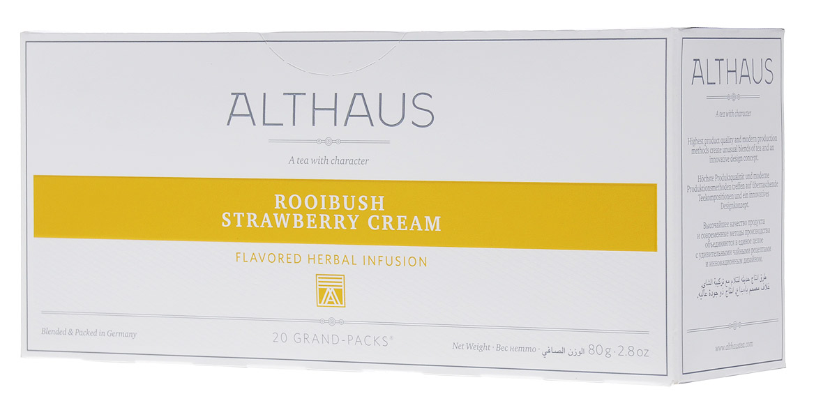 Althaus Grand Pack Rooibush Strawberry Cream ягодный чай в пакетиках, 20 штTALTHB-GP0041Althaus Rooibush Strawberry Cream (Ройбуш Клубника со Сливками) — это превосходное сочетание вкуса спелой клубники, воздушных сливок и нежного аромата отборных листьев ройбуша.Ройбуш — это экзотический напиток из Южной Африки, который не содержит кофеина и исключительно полезен для здоровья.