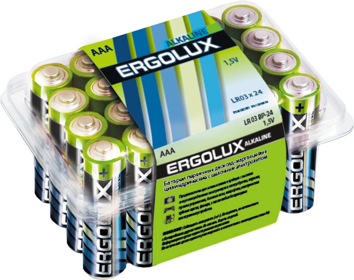 Батарейка алкалиновая Ergolux, тип LR03, 1,5 В, 24 шт11746Щелочные (алкалиновые) батарейки Ergolux оптимально подходят для повседневного питания множества современных бытовых приборов: электронных игрушек, фонарей, беспроводной компьютерной периферии и многого другого. Не содержат кадмия и ртути. Батарейки созданы для устройств со средним и высоким потреблением энергии. Работают в 10 раз дольше, чем обычные солевые элементы питания. Алкалиновые батарейки Ergolux - высокое качество и максимальная производительность.В комплекте 24 штуки.