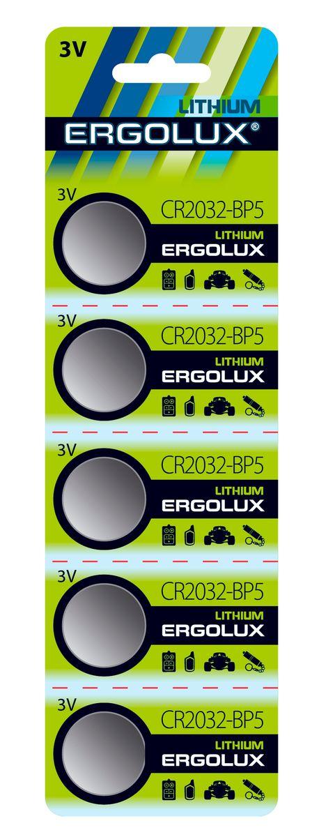 Батарейка литиевая Ergolux, тип CR2032, 3 В, 5 шт