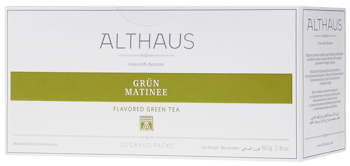 Althaus Grand Pack Grun Matinee зеленый чай в пакетиках, 20 штTALTHB-GP0037Althaus Grun Matinee (Грюн Матинэ) — необыкновенный купаж классического японского зеленого чая Сенча с лепестками розы, василька и подсолнечника. Грюн Матинэ дает настой с деликатным освежающим букетом. В нежном цветочно-фруктовом аромате чувствуются земляничные нотки и медовая сладость грушевых оттенков. Всё о чае: сорта, факты, советы по выбору и употреблению. Статья OZON Гид
