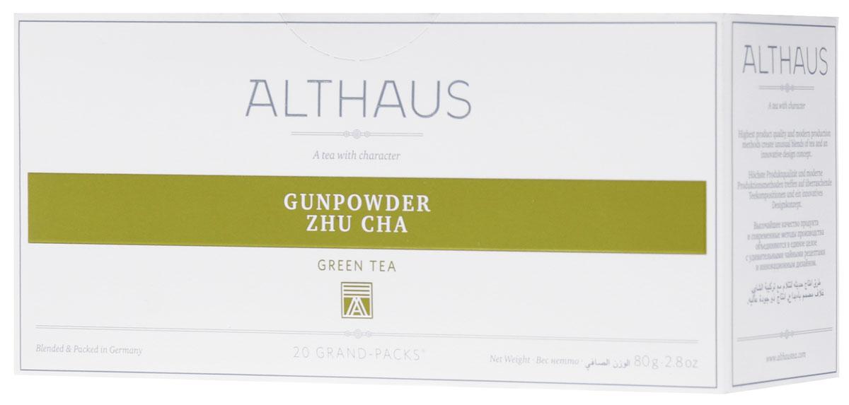 Althaus Grand Pack Gunpowder Zhu Cha зеленый чай в пакетиках, 20 штTALTHB-GP0034Althaus Gunpowder Zhu Cha (Жу Ча Ружейный Порох) — популярный китайский зеленый чай с классическим ароматом и терпким травянистым вкусом. Взрывное имя этому чаю в XVIII веке дали англичане, так как его сильно скрученные глянцевитые листочки внешне напоминали металлические дробинки. Жу Ча пьют в обед и вечером, с сахаром, мятой, лимоном.Всё о чае: сорта, факты, советы по выбору и употреблению. Статья OZON Гид