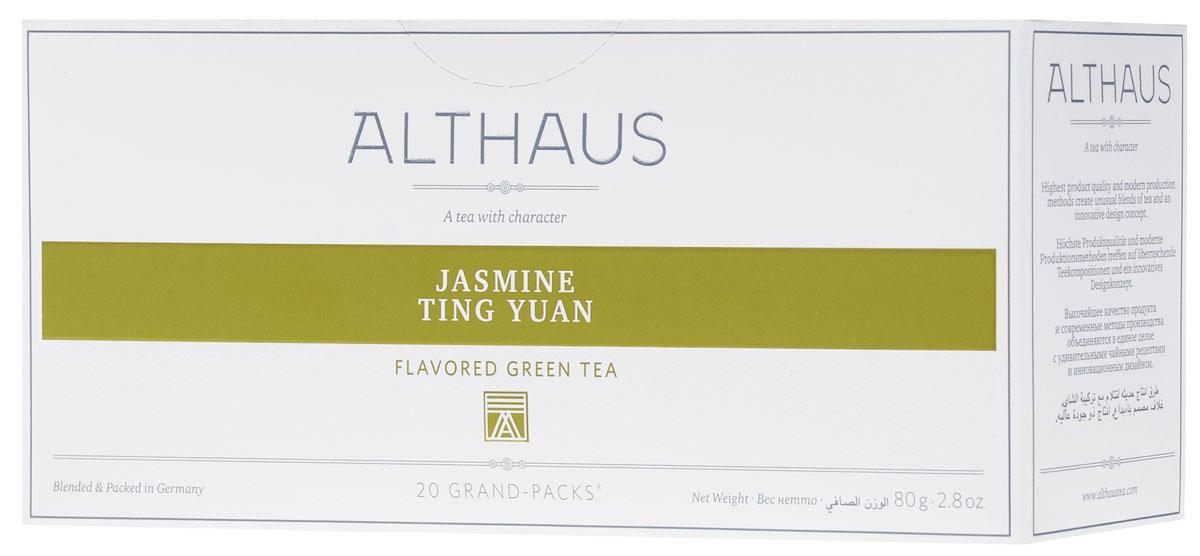 Althaus Grand Pack Jasmine Ting Yuan зеленый чай в пакетиках, 20 штTALTHB-GP0036Althaus Jasmine Ting Yuan (Жасмин Тинг Юань) — замечательный китайский зеленый чай с ровными, очень длинными листьями, украшенный полупрозрачными цветами жасмина. При заваривании Жасмин Тинг Юань дает насыщенный чуть сладковатый настой с древесно-цветочным вкусом и тонким чувственным ароматом. Жасмин Тинг Юань превосходно сочетается с блюдами китайской кухни.Всё о чае: сорта, факты, советы по выбору и употреблению. Статья OZON Гид
